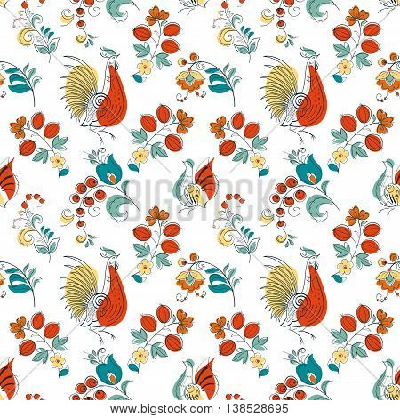 Seamless pattern Rooster and flowers in Russian style