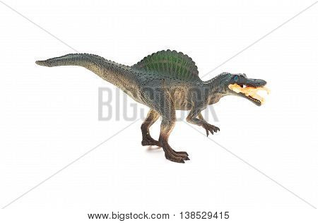 side view grey spinosaurus toy catching a smaller disonaur on white background