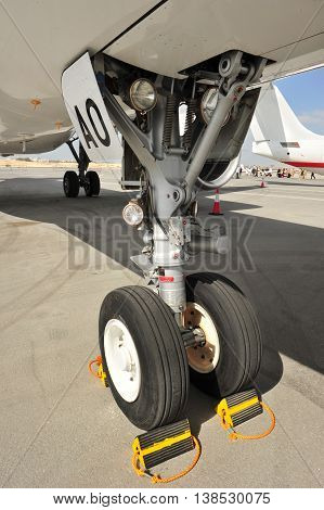 Closeup of Airplane Chassis. Image of Airplane Chassis.