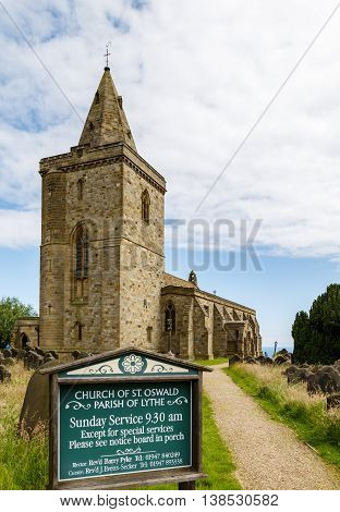 LYTHE ENGLAND - JULY 12: The Church Of St Oswald. In Lythe North Yorkshire England. On 12th July 2016.
