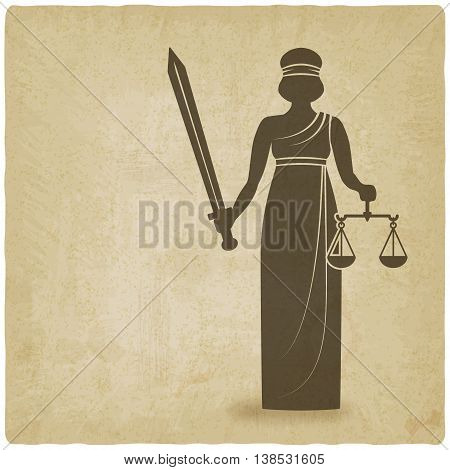 Themis with sword and scales old background. vector illustration - eps 10