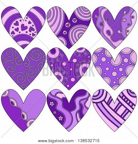 Lilac Romantic Valentine Heart Collection over white background