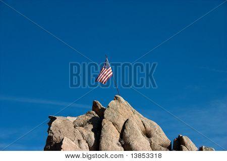 American Flag On Peak In Breeze