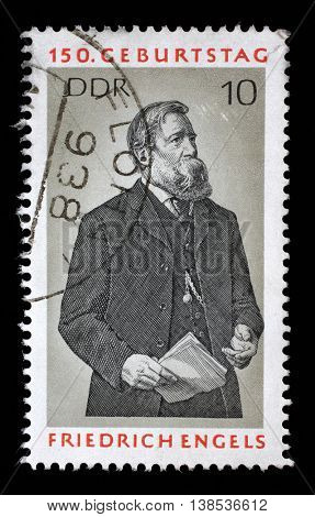 ZAGREB, CROATIA - JULY 02: a stamp printed in GDR shows Friedrich Engels, Social Scientist, Political Theorist and Marxist, circa 1970, on July 02, 2014, Zagreb, Croatia