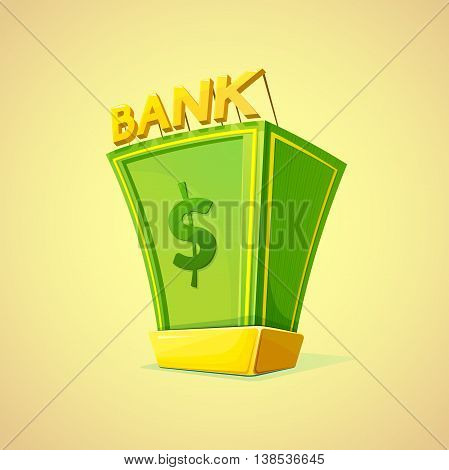 Money Bank concept design with a pile of money and gold bullion symbols of wealth and prosperity, vector illustration in retro style