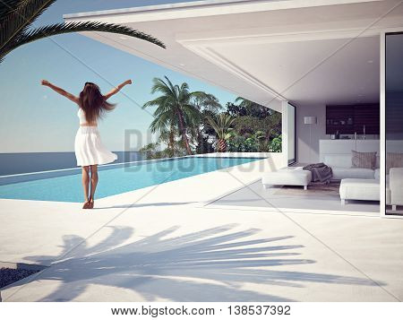woman in luxury spa resort near the swimming pool. 3d rendering