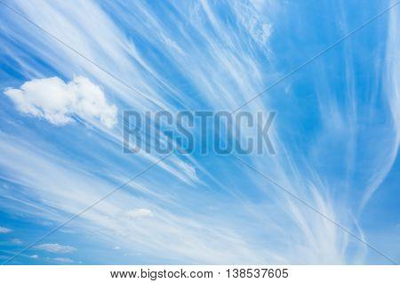 Cirrus Clouds In Blue Windy Sky, Natural Photo