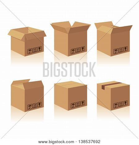 Closed and open recycle brown carton delivery packaging box with fragile signs. Collection vector illustration isolated box on white background for web, icon, banner, infographic. poster