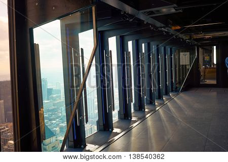 CHICAGO, IL - CIRCA MARCH, 2016: the TILT platform at John Hancock Center's observatory. The John Hancock Center is a supertall skyscraper at 875 North Michigan Avenue, Chicago.