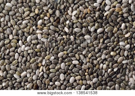 Close up of Chia Seeds on White Background