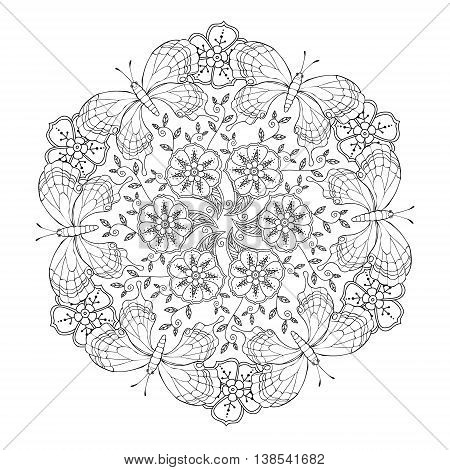 Mendie Mandala with butterflies and flowers. Vector illustration