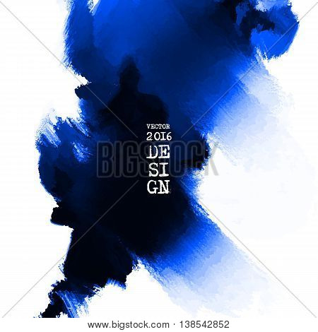 Abstract stylish background blue ink paint. Blue blot isolated on white square. Grunge watercolor banner. Painting. Wallpaper with empty space for your text. Vector illustration.