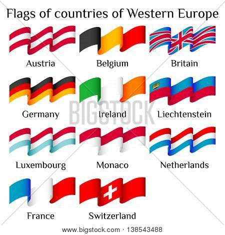 Set of flying flags of Western Europe countries in waves isolated on white background. Ensigns of 11 Western Europe member states. Vector illustration