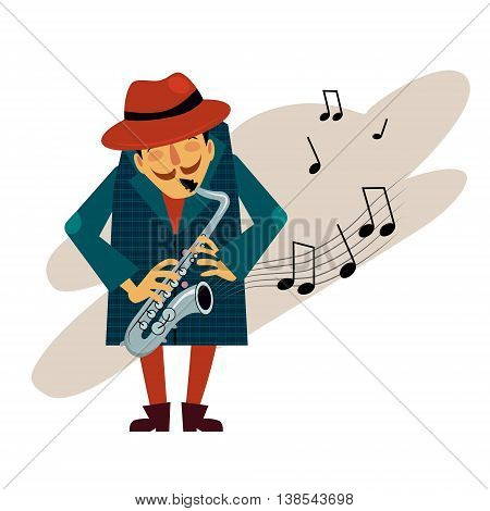 Saxophonist playing love melody illustration in modern style for different use