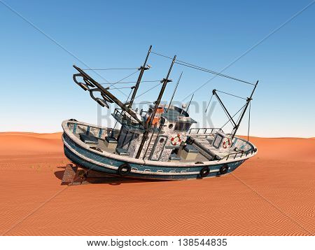 Computer generated 3D illustration with a stranded trawler