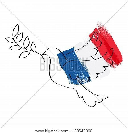 Dove symbol of peace and flag of France vector illustration. World support for France - sorrow grief symbol. Terrorist attack in Nice on July 14, 2016. Paint brush texture.