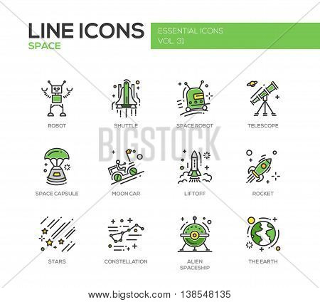 The Space - modern vector line design icons and pictograms set. Robot, shuttle, telescope, capsule, moon car, liftoff, rocket, stars, constellation alien spaceship earth