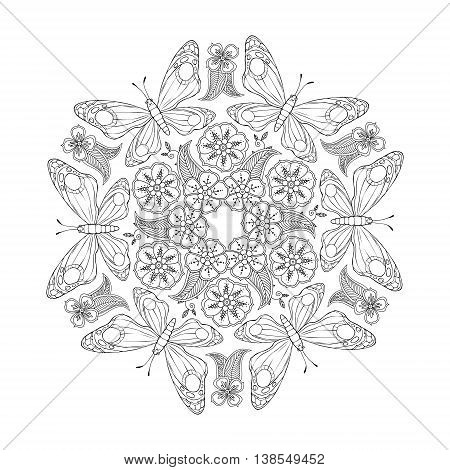 Monochrome Mendie Mandala with butterflies and flowers. Zenart inspired. Vector illustration