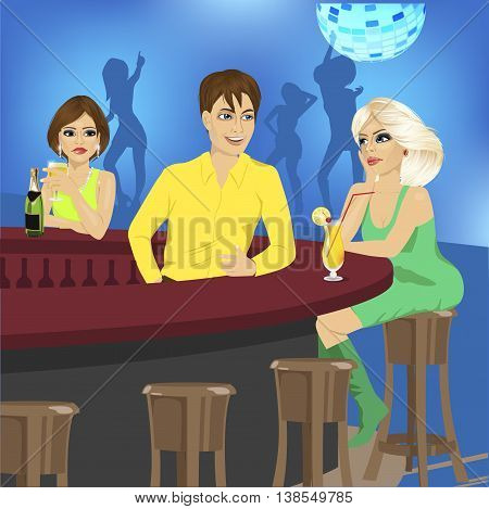 bartender talks to blonde sitting at the bar counter while another woman looks at her jealously