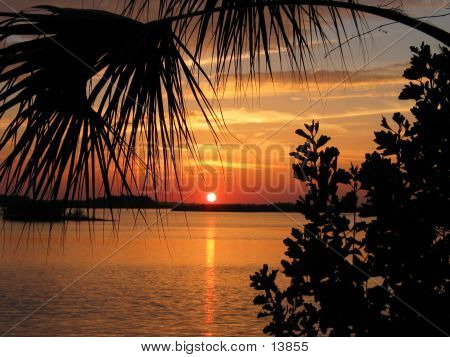 sunset on florida's indian river, new smyrna beach poster