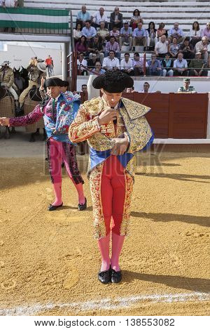Pozoblanco Spain - September 24 2010: The spanish bullfighter Antonio Ferrera at the paseillo or initial parade during a bullfight in the Bullring of Pozoblanco Spain