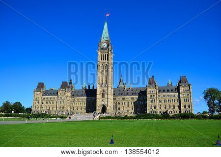 Parliament building of canada blue sky sunny day parliament hill ottawa canada