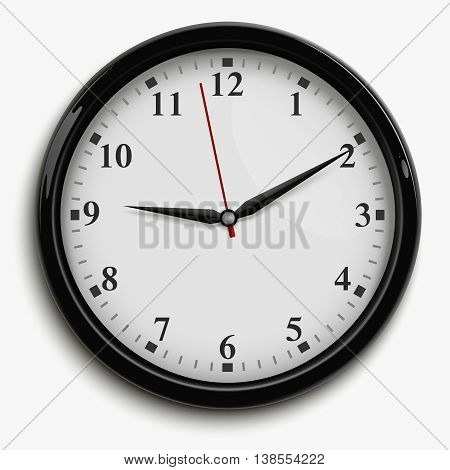 Wall office clock with black and red hands and white dial isolated on white background realistic vector illustration