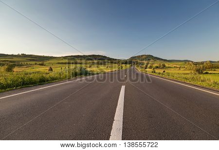 Empty country road, in Sibiu county, Transylvania, Romania