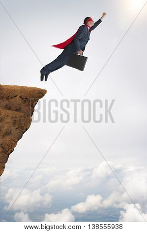 business success challenge concept superhero businessman flying