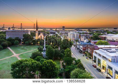 Charleston, South Carolina, USA skyline over Marion Square.