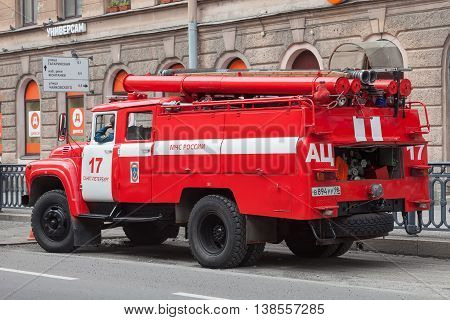 SAINT PETERSBURG, RUSSIA -JULY 09, 2016: Red fire machine EMERCOM of Russia in the center of St. Petersburg