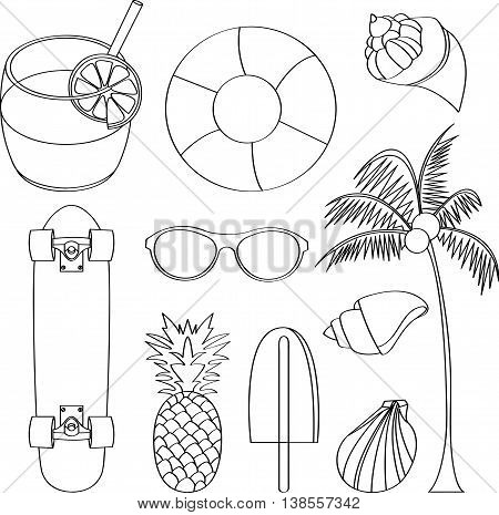 Vector illustration set of summer lovely things issolated