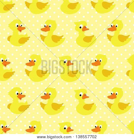 Seamless pattern with duckling on yellow dotted background. Vector illustration.