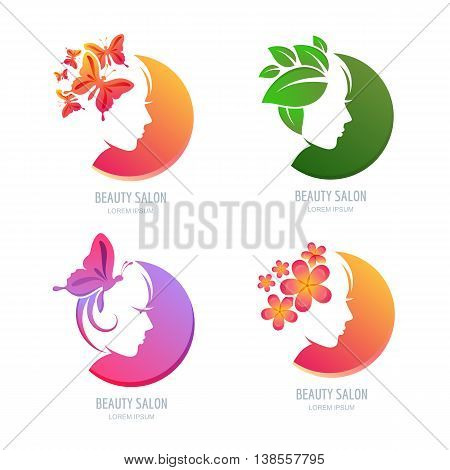 Vector Beauty Logo, Label Set. Female Face In Circle Shape. Woma