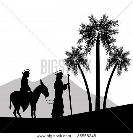 Merry Christmas and holy family concept represented by joseph, maria and donkey icon. Silhouette and flat illustration.