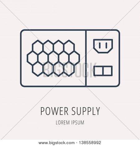 logo or label PC upgrading. Line style logotype template with power supply. Easy to use business template. Vector abstract emblem.