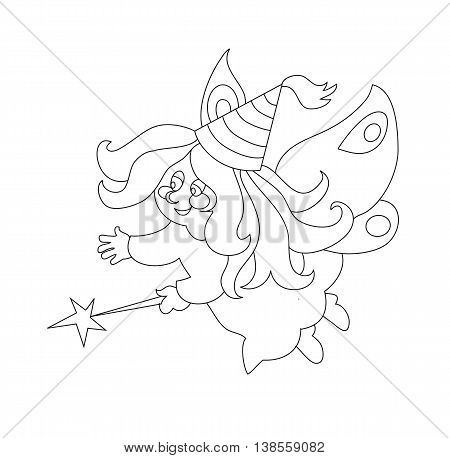 Beautiful cartoon fairy with magic wand. Can be used for coloring book. Vector illustration.