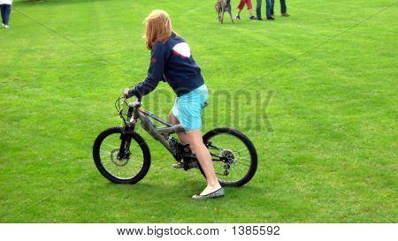 Beautiful Girl/Teenager  Riding Her Bicycle