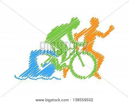 Vector line design concept for triathlon. Colored linear silhouette triathlete. Open path.