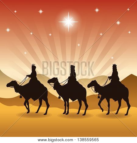Merry Christmas and holy family concept represented by three wise men on camels icon. Silhouette and flat illustration.