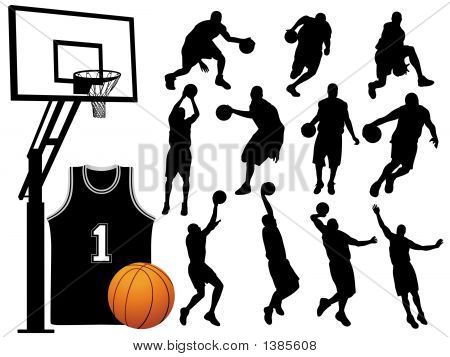 Basketball Player Silhouettes - Vector / Eps8. poster