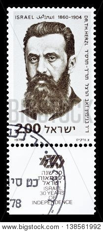 ISRAEL - CIRCA 1978 : Cancelled postage stamp printed by Israel, that shows Theodor Zeev Herzl.