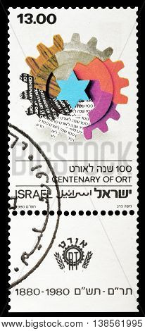 ISRAEL - CIRCA 1978 : Cancelled postage stamp printed by Israel, that promotes centenary of Ort.
