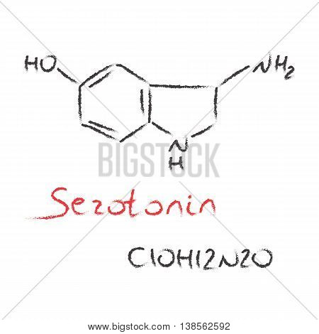 Serotonin black and red hand drawn chemical formula