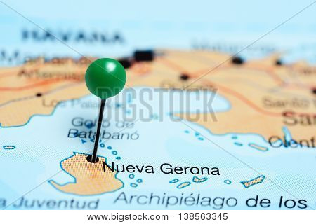 Nueva Gerona pinned on a map of Cuba