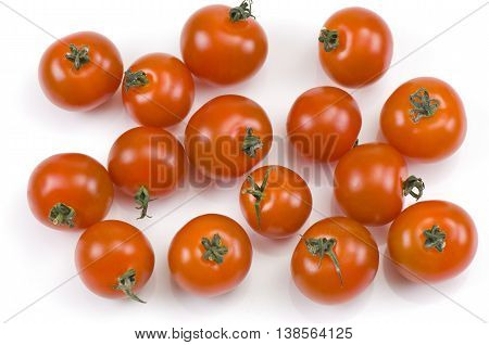 Cherry tomatos isolated on a white background