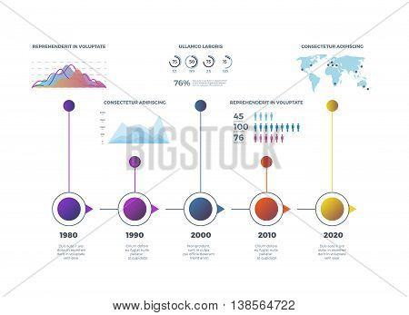 Timeline infographic with diagrams, charts. Infographic timeline information and vector template colored timeline illustration