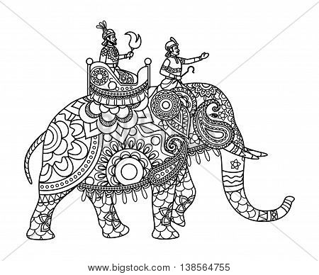 Indian maharajah on the elephant coloring pages template. Vector illustration