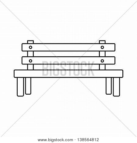 Wooden bench icon in outline style. Seat symbol isolated vector illustration