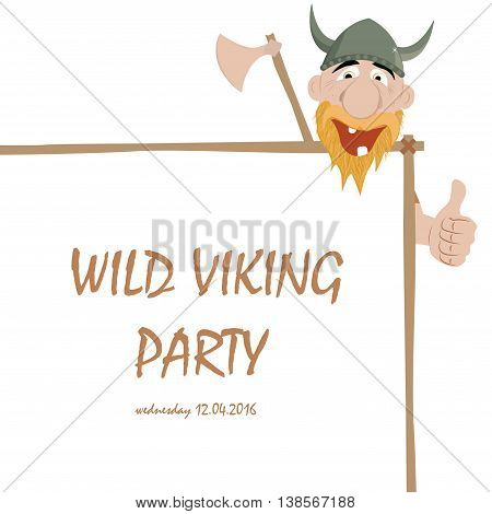 Funny cartoon viking with thump up and party banner